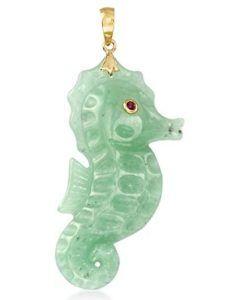Ross-Simons Green Jade Seahorse Pendant