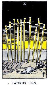 10 Swords Tarot Card