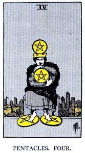 4 Pentacle Tarot card