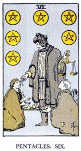 6 Pentacle Tarot card