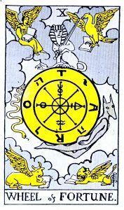 The Wheel of Fortune Tarot - Major Arcana Tarot Card